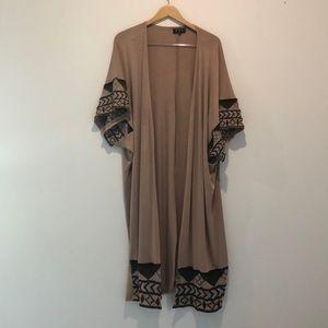 POL stretchy cotton knit duster coverup kimono OS